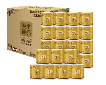 清风 (APP) 卷纸 原木纯品金装系列 4层200克卫生纸*27卷 (整箱销售)