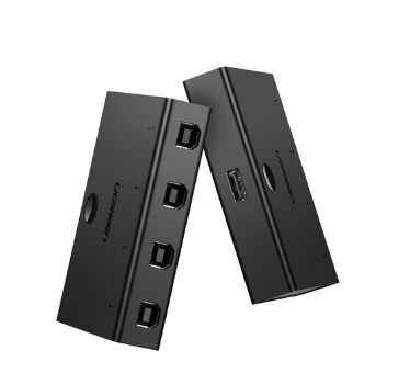 绿联 USB打印机共享器 四进一出切换器 4进1出 台式机笔记本电脑接鼠标键盘U盘共享4口转换器 黑色 30346