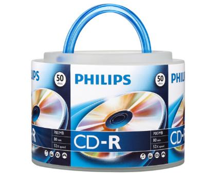 飞利浦(PHILIPS)CD-R光盘/刻录盘 52速700M 手拎乖乖桶 桶装50片