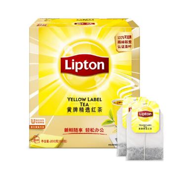 立顿Lipton 红茶叶 黄牌精选经典 办公室下午茶 袋泡茶包 2g*100包