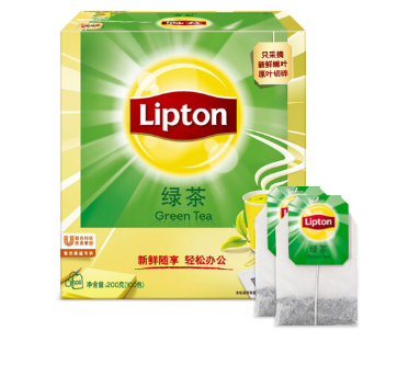 立顿Lipton 绿茶叶 办公室下午茶 袋泡茶包 2g*100