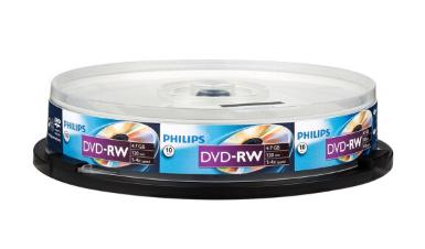 飞利浦(PHILIPS)可擦写空白刻录光盘光碟 可重复刻录 10片装DVD刻录盘