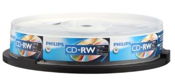 飞利浦(PHILIPS) CD-RW 可擦写空白刻录光盘光碟 可重复刻录 10片装刻录盘